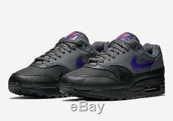 2018 Nike Air Max 1 SZ 9.5 Black Grey Purple PInk AR1249-002