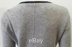 360 CASHMERE Pale Grey Cashmere Pink & Black Colour Block Jumper Sweater Top M