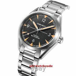 41mm corgeut black dial streaks sapphire glass steel ST1612 Automatic mens Watch