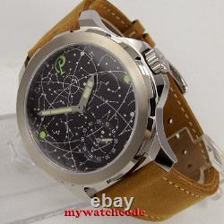 44mm PARNIS constellation dial Sapphire glass 6498 hand Winding mens watch P916B