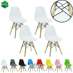 4 x Eiffel Dining Chairs Retro ABS Plastic White Black Grey Red Green Pink Blue