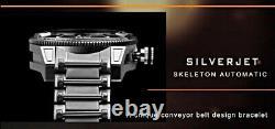 ARAGON SilverJet 50mm Skeleton Black Dial Silver AUTOMATIC Dive Watch A232SLV