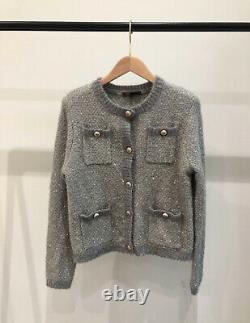 AUTH Maje Fancy Lurex Knit Cardigan Sweater Blue/Pink/White/Black/Grey 36,38,40