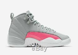 Air Jordan 12 Retro (gs) Wolf Grey / Racer Pink -black 510815 060 Sz 6y