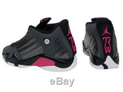 6188e9f4fc31 Air Jordan 14 Xiv Retro Low Gg 5.5y Grey Hyper Pink Black White 654969-028