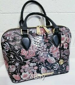 BRAHMIN VIVIAN BLACK Bohemia Satchel FLORAL GREY PINK LEATHER Handbag PURSE