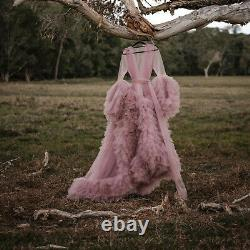 Beach Wedding Dresses Sweep Train Bridal Gowns Ruffles Pink Sleepwear Bathrobe