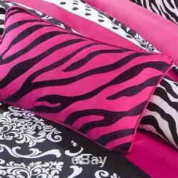 Beautiful Chic Modern Polka Dot Hot Pink Black Grey Zebra Girls Comforter Set