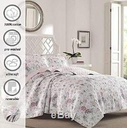 Beautiful Vintage Cottage Chic Pink White Black Grey Mauve Rose Shabby Quilt Set