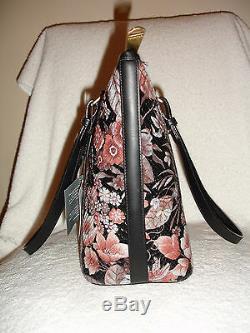 Brahmin Medium Asher Black Bohemia Floral Emb Snake Grey Pink Tote