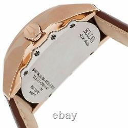 Bulova 64B126 Accu-Swiss Telc Rose Gold Tone Case Brown Leather Automatic Watch