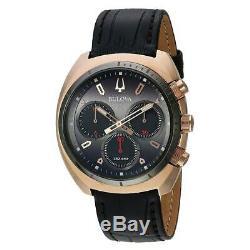 Bulova 98A156 Men's Curv Grey Dial Black Matte Leather Strap Chronograph Watch