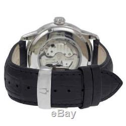 Bulova Automatic Black and Grey Dial Black Leather Men's Watch 96A135