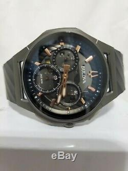 Bulova CURV Titanium ST Steel Men's Chronograph 98A162 Watch, Rubber Strap