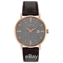 Bulova Classic Men's Quartz Rose Gold Case Brown Leather Band 39mm Watch 97B154