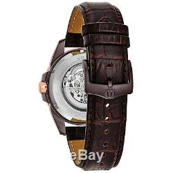 Bulova Men's 98A165 Classic Automatic Brown Leather Strap 43mm Watch