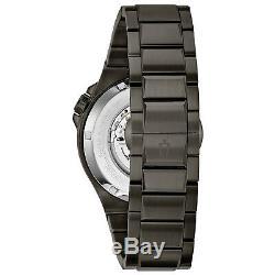 Bulova Men's Automatic Skeleton Dial Black Grey Bracelet 46mm Watch 98A179
