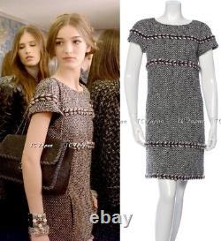 CHANEL 13B 13PF Black Gray ivory Pink Chevron Pattern Tweed Dress FR38