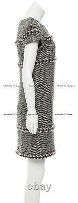 CHANEL 13B 13PF Black Gray ivory Pink Chevron Pattern Tweed Dress FR40