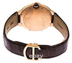 Cartier Ballon Bleu 18k Rosegold Brown Leather Auto Men's Watch W6900651