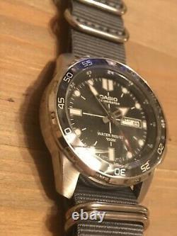Casio Divers Watch Black Dial 100m Grey Ballistic Nylon Strap Upgrade New