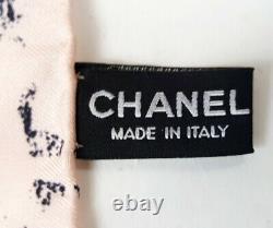 Chanel 12P Pink Black Grey Print Silk Square Scarf 34 x 34