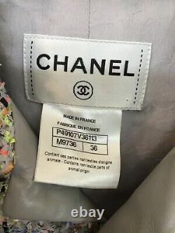 Chanel Dress Pink Black Gray Multi Neon Spec Tweed Sleeveless Pockets Zip Size 8