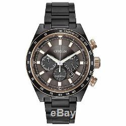 Citizen Eco-Drive Men's Chronograph Rose Gold Accents Grey 42mm Watch CA4207-53H
