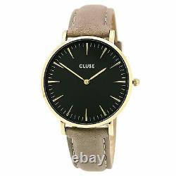Cluse Women's Watch La Boheme Quartz Black Dial Grey Leather Strap CL18411