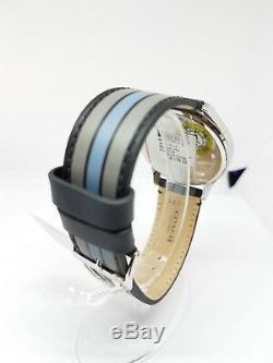Coach Watch 14602368 Grey Blue Black Leather Strap Black Face Men's
