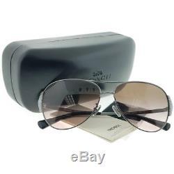 Coach Womens HC 7067 930111 Sunglasses Gunmetal Black Grey Pink Gradient New