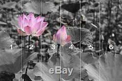 Dark Pink & Grey Black Lotus Flowers Wall Mural Photo Wallpaper GIANT WALL DECOR