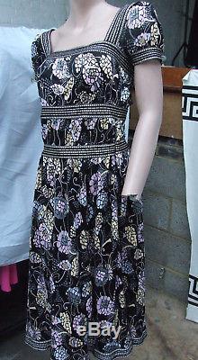 Designer Missoni Gorgeous Multicolour Black, Pink & Grey Floral Print Dress UK 8