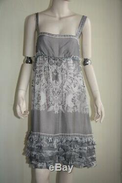 Diane von Furstenberg floral lace oleada chiffon dress pink black grey 6