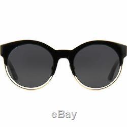 Dior Sideral 1/S J63 Y1 Black Rose Gold Plastic Round Sunglasses Grey Lens