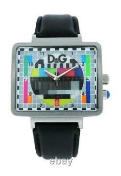 Dolce & Gabbana Time DW0514 Men's Analog Retro TV Style Black Leather Watch