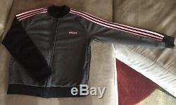 EUC Adidas 3-strip Jacket Pant Set Women Black Grey Pink Size Large