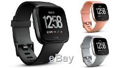 Fitbit Versa Smart Watch, One Size (S & L Bands Included), Black/Grey/Peach Rose