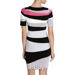 Flattering KAREN MILLEN bodycon knit DRESS pink white black grey stripe L 4 bnwt