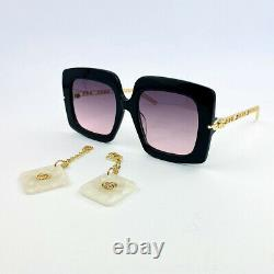 GUCCI GG0722S Black Gray Pink Shaded Charms Square Women's Sunglasses Eyewear