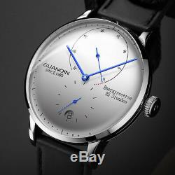 Guanqin Classic Dial Power Reserve Sapphire Display Automatic Leather Mens Watch