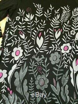 Gudrun Sjöden Black Gray Pink Artsy Floral Foliage Y 3/4-sleeve Tunic Dress L