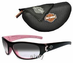 Harley-Davidson Wiley-X Curve Gray Lens Safety Black & Pink Sunglasses HDCUR05