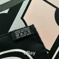 Hermès Paris Scarf 90 Sport Anamorphée Black White Grey Soft Pink Vanilla
