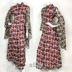 INSANE VTG 60S 70s BLACK GREY PINK ABSTRACT SEQUIN ANGEL SLEEVE MAXI DRESS 14