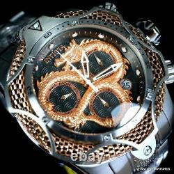 Invicta Venom Dragon Scale Swiss Mvt Chrono Steel 52mm Rose Gold Tone Watch New