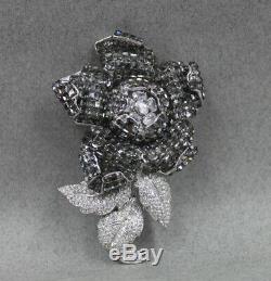 Jarin Sterling Silver HUGE Black Grey Rose Rhinestone Pin Brooch