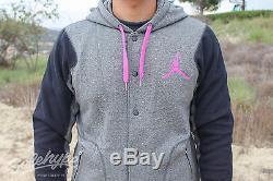 Jordan Varsity Jacket 2.0 Hoodie Sz L Grey Pink Black 547693 033