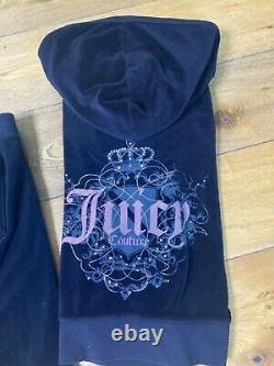 Juicy Couture Y2K Velour Tracksuit Black Pink Gray Women's Size Medium