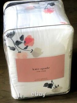 KATE SPADE Willow Court Blush, Pink, Gray, Black Floral Full/Queen Comforter Set